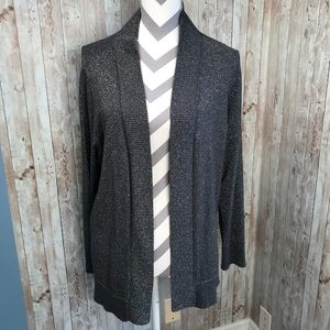 Worthington 1X gray metallic cardi silver thread
